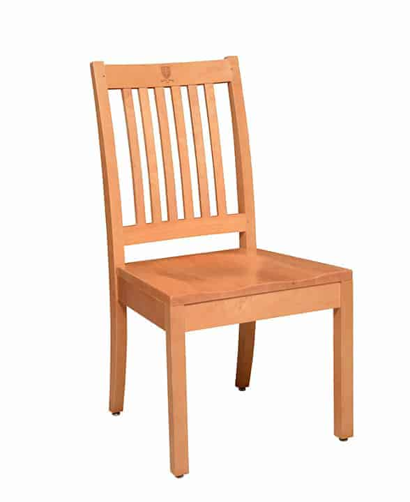 Westminster School wood library chair with six vertical, narrow back slats